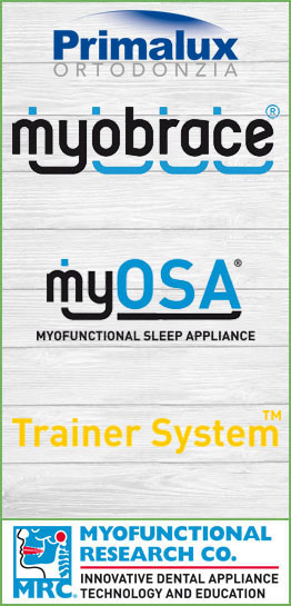 Linea completa dei prodotti Myofunctional Research Co. - MRC - Myobrace - myOSA - Trainer System